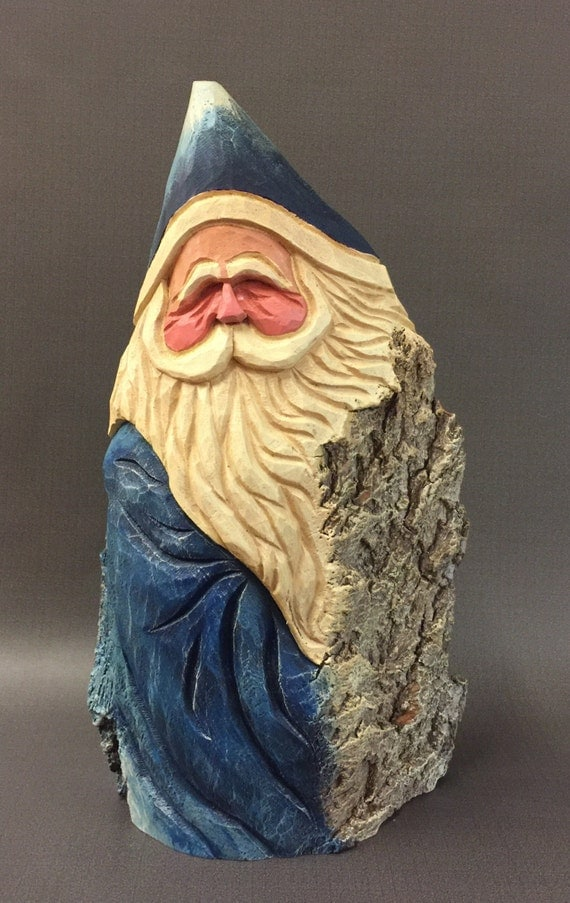 Hand carved original large blue rustic santa from year