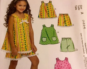 McCalls 5560  Toddlers Top Shorts amd Dress Pattern Uncut Size 1-4
