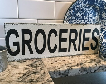 GROCERIES, Fixer Upper Style Sign, Grocery Sign, Kitchen Sign, 5.5 x 16