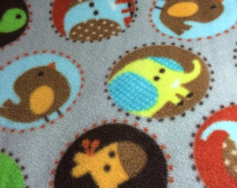 Fleece Gray Blanket with Animals in Circles
