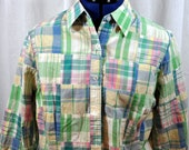 Cape Madras Large Shirt Patch Plaid Long Sleeve Button Up Pink Green Women's