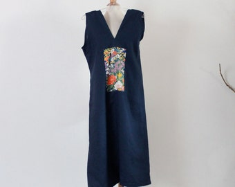 midnight blue sparrow linen dress with Japanese floral kimono silk panel  size M ready to wear