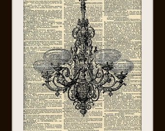 Art Print GASOLIER CHANDELIER 8x10 Dictionary Gold Gilded Vintage Page
