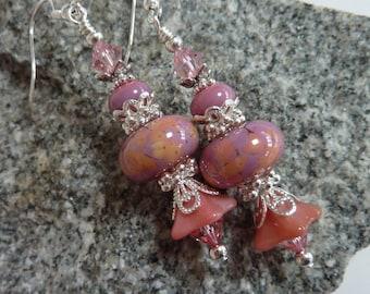 Pink Peach Earrings, Feminine Earrings, Pretty Pink Drop Dangles. Handmade Lampwork, Sterling Earwires, Gift for Her