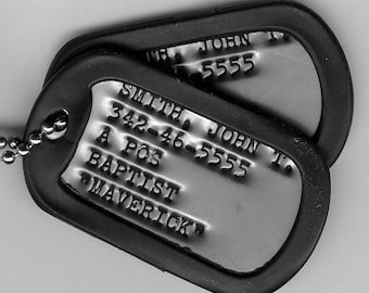 Real Debossed Military Dog Tags Dogtags Made Just For U FREE SHIPPING