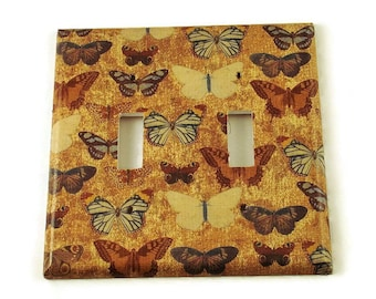 Double Light Switch Cover Wall Decor Switchplate   Switch Plate in  Vintage Butterfly (224D)