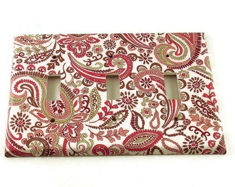 Triple Switch Plate Wall Decor Light Switch Cover Switchplate  in  Pink Paisley   (099T)