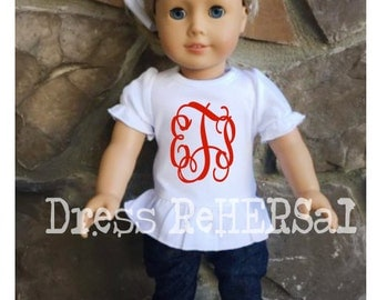 "18"" Doll shirt custom made to match"