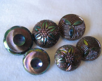 3 Sets of 2 VINTAGE Iridescent Black Glass BUTTONS L6
