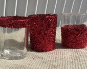 12 Red Glitter Votive Candle Tea Light Holders Wedding Party Favors Table Decoration Centerpiece Decor Reception Tealight