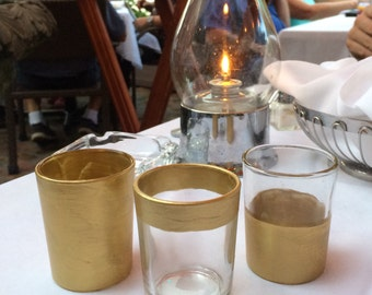 12 Gold Metallic Metal Votive Candle Tea Light Holders Wedding Party Favors Table Decoration Centerpiece Decor Reception Tealight