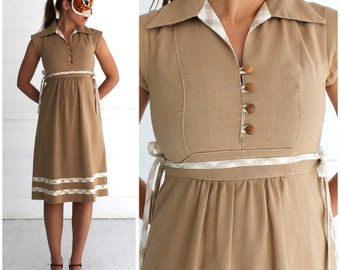 Vintage 1970's Boho Babydoll Dress in Light Brown with Plaid Accents and Side Ties by Act I   XS/Small