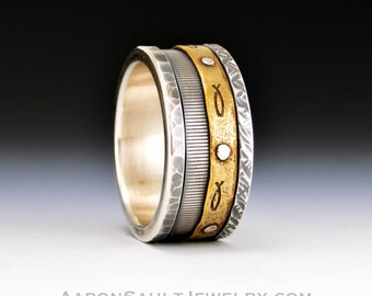 Kinetic Series - Lively.  Textured Sterling Silver and Bronze