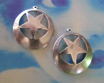 Sterling Silver Ox Plated Brass Star Stamping Hoops 939SOX  x2