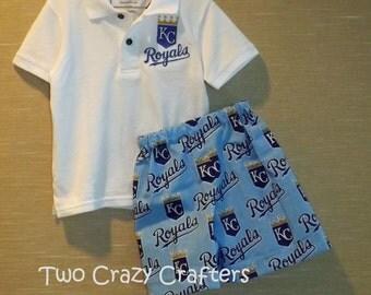 Kansas City Royals Inspired Boys Shirt and Shorts Outfit, Toddler, Baby, Boy, Sport, MLB