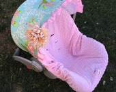 Infant Car Seat Cover, Baby Car Seat Cover in Garden Spray with baby pink minky seat cover