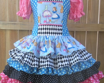 Made to Order Alice in Wonderland Ruffled Dress Girl Sizes 18 mo 2 3 4 5 6 7 8