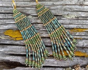 Native American Beaded Earrings.Beadwork Earrings.Long Fringe Earrings.Green Seed Bead Fringe Earrings.Boho Beaded Earrings.SAGE