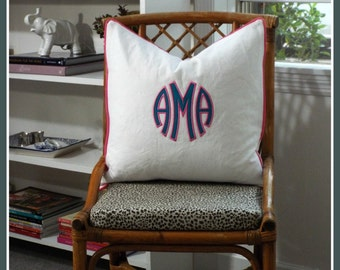 The Marchand Monogrammed Pillow Cover Euro Sham - 20 x 20 square