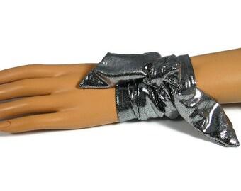 Silver Fabric Wrap Cuff Bracelet Silver Spandex Cuff Wrap Bracelet Tie Bracelet Silver Bandana Bracelet Silver Bandana Tied Bracelet Cuff