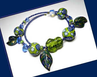 Frog Bangle Bracelet- Blue Green Bracelet- polymer clay Bracelet- Ready to Ship- Wrap Bracelet- Gift for Her