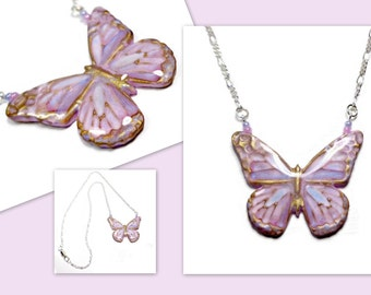 Opalescent Butterfly Statement Necklace- polymer clay jewelry-Butterfly Jewelry- Faux Enamel Pendant- Ready to Ship