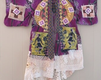 purple diamonds - GEISHA PATCHWORK KIMONO Couture - Altered Antique & Vintage Linens Fabric Collage  -Japanese Asian Wearable Art  - mybonny