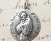 St Francis of Assisi / St Clare Medal - Patron of the environment - Antique Repr