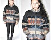 Reserved// TOMMY HILFIGER zip up NAVAJO wool jacket vintage 80s 90s woodland designer fleece jacket medium os