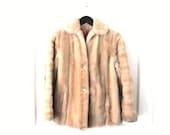 small blonde FAUX fur coat 1970s vintage RETRO fake fur winter coat