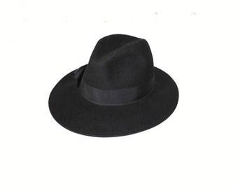 black felted wool fedora 1960s 60s vintage minimalist wide brim fedora hipster hat