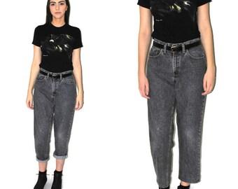 grey stone washed LEVIS mom jeans high waist distressed 80 vintage boyfriend jeans size 28