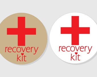 Recovery Kit Stickers Wedding - Bridal Shower hangover Recovery Kit - 1.5 inch - 2 inch - 2.5 inch - 3 inch - Favor Gift Bag