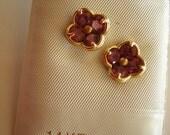 14KT Gold Earrings Pink Rhodolite Garnet Stones Pierced Ears New Old Stock DOGWOOD Flower Design