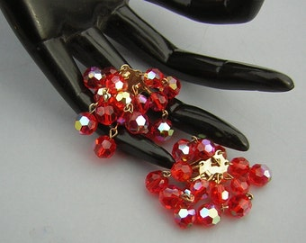 Vintage Earrings TANGERINE AB Cha Cha Waterfall Crystal Explosions possibly Unsigned Laguna