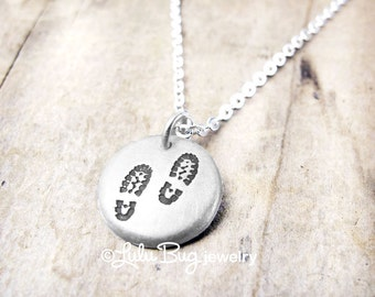 Tiny hiking boot necklace, boot print hiking necklace, hiking jewelry, backpacking necklace, backpacker jewelry, camping, trekking, hike