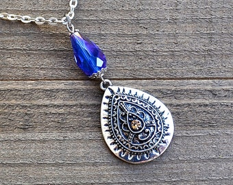 Mystical Realms Sorceress Silver Necklace Indigo Blue Teardrop PEr Shape With Crystal