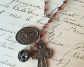 20%OFF SALE Vintage Rosary Inspried Reclaimed Upcycled Necklace on Sterling with low grade ruby stones, Gifts under 60, Gifts for Her, Ready