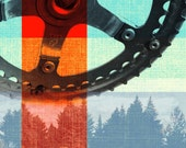 Crank Trees - Bike Part Art Photography Gel Transfer Print on Wood