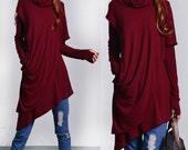Solitude - thumb hole shirt / asymmetrical knit tunic dress / deconstructed boho tunic / hippie tunic dress / malsala rib tunic (Y1535)