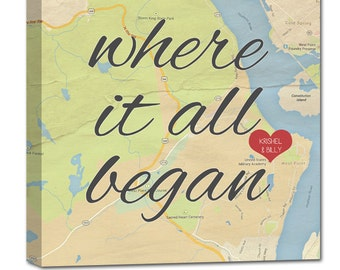Gifts for Him or Her Personalzed Map Art Wedding Gift with Quote Art Customized with Places and Names where it all began