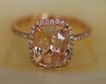 Ice Peach Sapphire Ring Rose Gold Engagement Ring 2.92ct cushion 14k rose gold diamond ring.