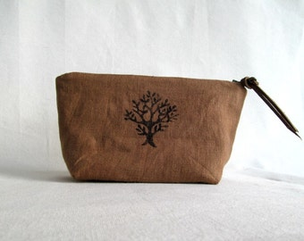 Linen Pouch // Zippered Pouch // Multipurpose Pouch //Cosmetic Case // Handstamped Pouch // Ginger
