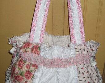 Ready to Ship rag quilt purse pink roses hobo gypsy knitting crochet beach bag tote boho diaper handbag chic shabby drawstring