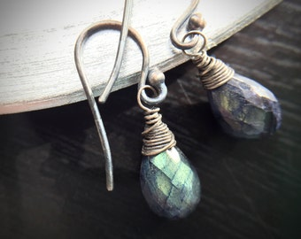 Statement Bold Iridescent Spectrolite Oxidized Silver Earrings Gift for women, sister, mom, aunt, girlfriend, wife