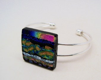Dichroic glass cuff bracelet