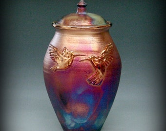 Raku Urn or Lidded Vase with Hummingbirds in Metallic Iridescent Colors