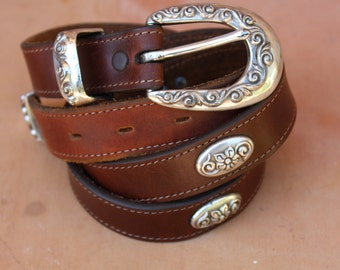 Vintage brown leather - Harness Leather with silver buckle and embellishments.  Size 36