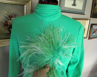 Lime Green Seventies Maxi Dress With Ostrich Feathers
