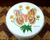 Vintage Butterflies Moths and Wildflowers Large Rusty Tin